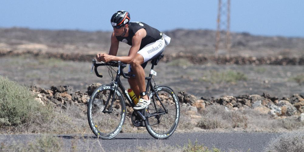 Triathlete cycling on Lanzarote